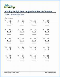 2 digit addition worksheets for grade 2 9511 grade 2 worksheet adding 2 digit and 1 digit numbers in columns k5 learning