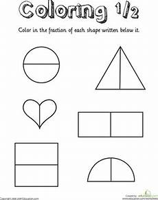 shapes in half worksheets 1140 coloring shapes the fraction 1 2 worksheet education