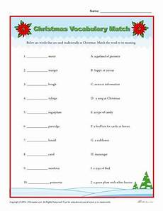 christmas vocabulary match christmas worksheets