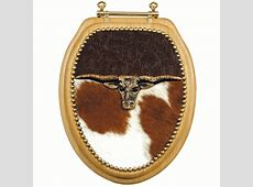 Longhorn & Tooled Leather Toilet Seat   Round