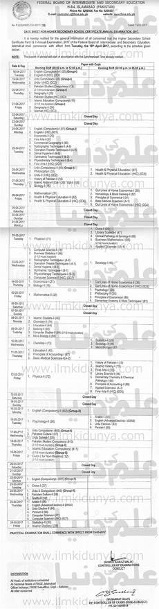 bise federal board hssc date sheet 2018 part 1 2