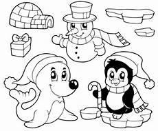 Schneemann Ausmalbild Einfach Schneem 228 Nner Schneemann Robbe Und Pinguin Zum Ausmalen