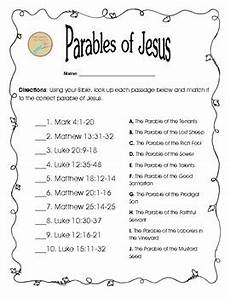 free bible worksheet matching parables of jesus by bible lessons for teens
