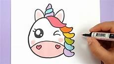 Bilder Zum Leicht Nachmalen Kawaii Regenbogen Einhorn Emoji Selber Malen Diy