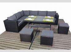 Prestige Black Rattan Corner sofa with dining table