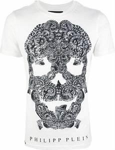 philipp plein studded skull print tshirt in white for