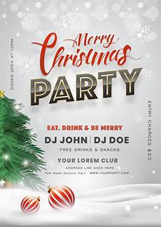 merry christmas party invitation card with tree baubles and event details premium vector