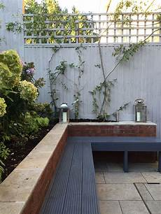 Built In Garden Bench Seating Painted In Grey With