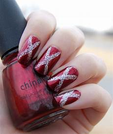 lacquer love happy holidays red and silver nail art