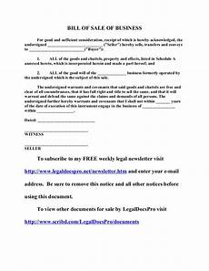 free sle bill of sale of business