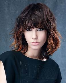 balayage brown hair bob haircut with bangs hair colors
