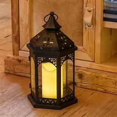 Lanterne En Verre Et M 233 Tal Noir H 34 Cm Avec Bougie Led