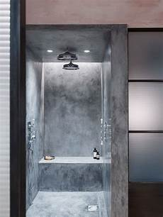 bathroom concrete shower stall with built in seat