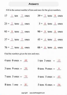 place value and value worksheet for grade 1 5454 tens and ones printable grade 1 math worksheet