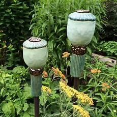 Witzige Gartenstecker Mit Mohnkapsel Aus Ton Keramik