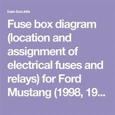 91 mustang fuse box fuse box diagram location and assignment of electrical fuses and relays for ford mustang 1998