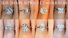 engagement ring diamond size comparisons for all shapes oval princess cushion more