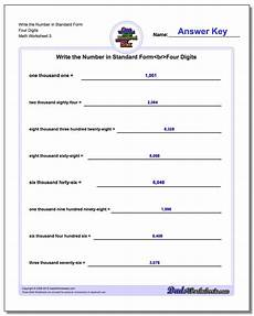 worksheets on writing numbers in standard form 21208 write word from in standard form