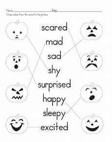 pumpkin emotions matching worksheet by christine begle tpt