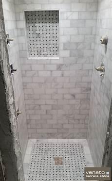 Carrara Venato Shower With Dogbone Basketweave Mosaics