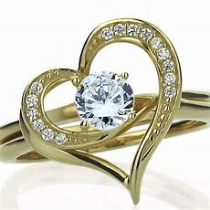 15mm 14k gold cz interlocking heart wedding engagement bridal ring ebay