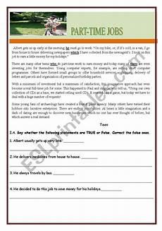 part time worksheets 3051 test worksheet part time esl worksheet by teresapr