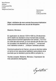 lettre de résiliation contrat d assurance lettre type resiliation contrat assurance modele de lettre type