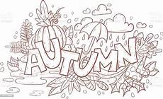 autumn doodle page for coloring book stock vector