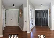 black door before and after painting inside of front door