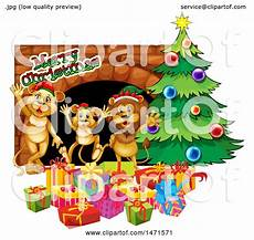 clipart of a lion family with merry christmas text by a tree royalty free vector illustration
