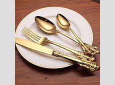 24pcs Western Retro Rose embossed handle Cutlery Set