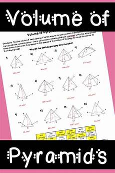 geometry puzzle worksheets high school 736 volume of pyramids puzzle worksheet geometry worksheets teaching geometry math resources
