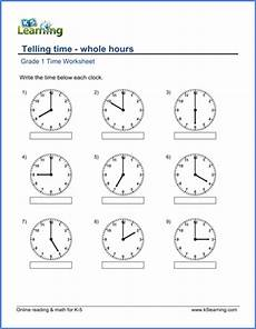 time worksheet class 5 2955 grade 1 math worksheet telling time whole hours k5 learning