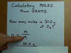 calculating moles from grams mass to moles