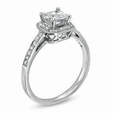 3 4 ct t w princess cut diamond framed engagement ring in 14k white gold princess wedding