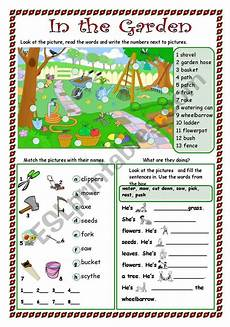 english worksheets in the garden
