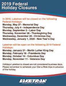 2019 federal holidays laketran