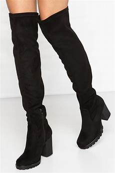 kayleigh black suede thigh high boots
