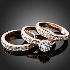 3 in 1 women s cz wedding ring set white yellow rose gold filled engagement band ebay