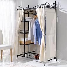 Alternative Zum Kleiderschrank - wardrobe breezy metal frame cotton cover beige black 109 x