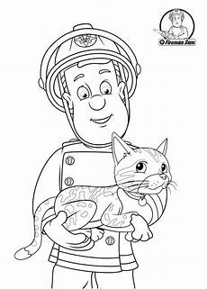 fireman sam helping the cat cat coloring page coloring