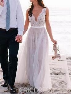 ericdress beautiful illusion neckline lace a line beach