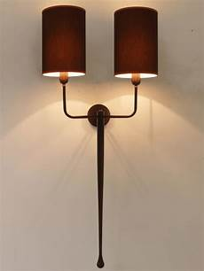 double wall light with finish brown and fabric shades