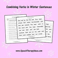 grammar redundancy worksheets 24955 combining verbs in winter sentences speech therapy worksheets language therapy activities