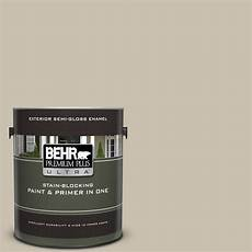 behr premium plus ultra 1 gal ul170 8 washed khaki gloss enamel exterior paint and primer