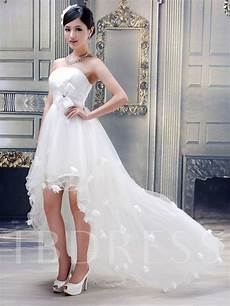 strapless flowers high low beach wedding dress tbdress com