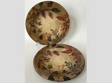 2 Home Trends Shadowwood Salad Plates Fall Leaves Branches