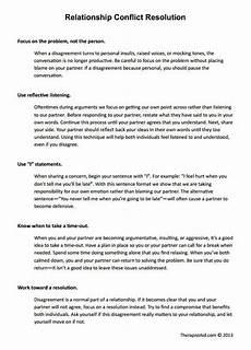relationship conflict resolution worksheet conflict resolution therapy worksheets