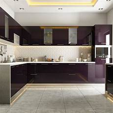 kitchen interiors photos modular kitchen styled in burgundy hues modular kitchens