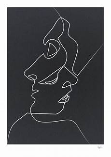 Simple Abstract Faces Black And White noir print abstract paintings